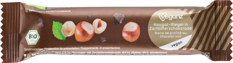 Nougat-Riegel in Zartbitterschokolade von Veganz